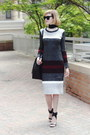 Gray-striped-mango-dress-black-skinny-asos-scarf