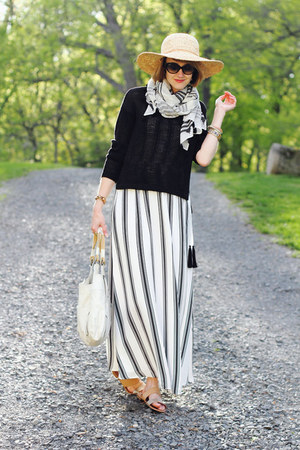 white maxi dress Loft dress - light yellow straw hat Kathy Jeanne hat