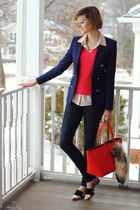 navy skinny jeans H&M jeans - hot pink cashmere neiman marcus sweater