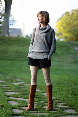gray cowl neck H&amp;M sweater - brown equestrian Kors by Michael Kors boots