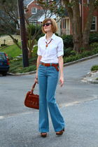 brown platforms Miu Miu shoes - blue high-waisted Jenny Jen jeans