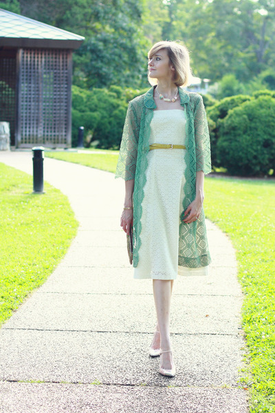 chartreuse lace vintage coat - white eyelet Express dress