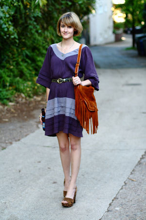purple Sunner dress - black vintage belt - brown Miu Miu shoes - brown Urban Out