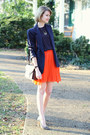 Navy-vintage-blazer-brown-shoulder-bag-louis-vuitton-bag