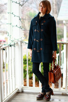 tawny saddle Bally bag - navy duffle toggle Burberry coat
