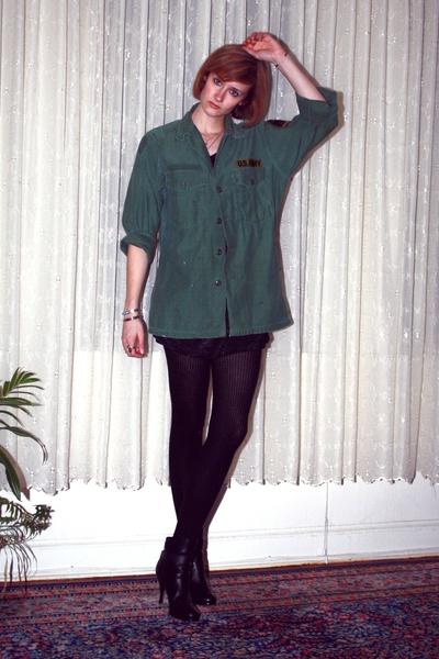 green vintage top - black H&M t-shirt - black H&M tights - black balenciaga boot