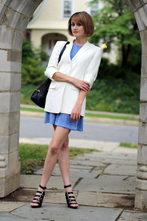 ann taylor blazer - vintage dress - Boyy purse - Forever21 shoes