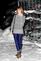 brown born boots - blue American Apparel leggings - gray vintage socks - gray H&