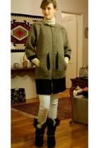 banana republic sweater - United Bamboo coat - Mango jeans - Technica boots