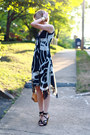 Brown-tortoise-shell-michael-kors-watch-navy-circle-print-thrifted-dress