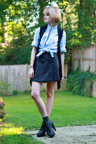 gray Megan Nielsen skirt - black Forever 21 vest - blue J Press shirt - gray Nin
