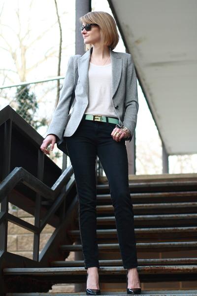 aquamarine e buckle C Wonder belt - black skinny Zara jeans