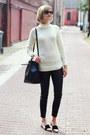 Ivory-turtleneck-banana-republic-sweater-black-bucket-mansur-gavriel-bag
