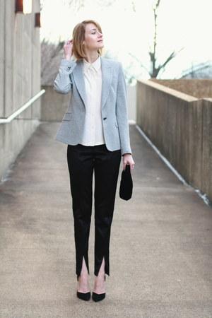 black velvet vintage bag - silver sparkly Zara blazer - black satin asos pants