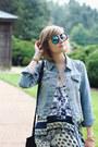 Navy-maxi-dress-boohoo-dress-sky-blue-denim-jacket-levis-jacket