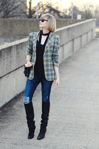 heather gray plaid Ungaro blazer - black Dolce Vita boots