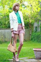aquamarine polo Lacoste top - ivory double-breasted Zara blazer