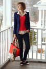 Navy-skinny-jeans-h-m-jeans-hot-pink-cashmere-neiman-marcus-sweater