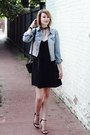 Black-slip-dress-joie-dress-sky-blue-denim-levis-jacket