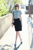 heather gray crop top Topshop t-shirt - black mini Sophie Hulme bag