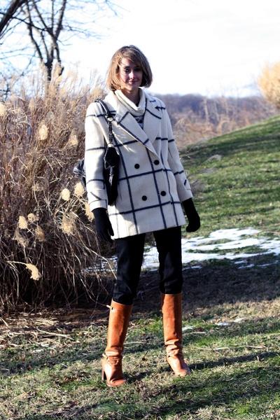 black J Brand jeans - white vintage coat - brown KORS boots - black KMRii purse