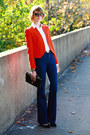 Carrot-orange-bright-zara-blazer-navy-j-brand-jeans-black-quilted-chanel-bag