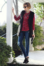 Navy-distressed-dl1961-jeans-red-plaid-flannel-arnold-zimberg-shirt