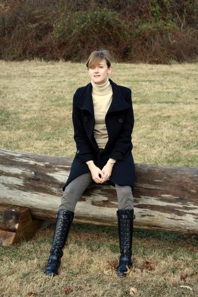 Marc New York coat - banana republic sweater - YSL belt - Mango pants - DKNY boo