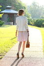 Light-pink-pleasted-anthropologie-dress-white-double-breasted-zara-blazer-mu