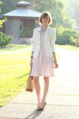 Light-pink-pleated-anthropologie-dress-white-double-breasted-zara-blazer-mus