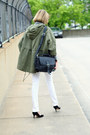 White-skinny-jeans-mango-jeans-olive-green-military-jacket-topshop-jacket