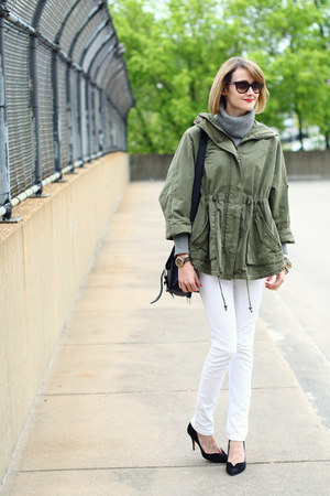 olive green military jacket Topshop jacket - white skinny jeans Mango jeans