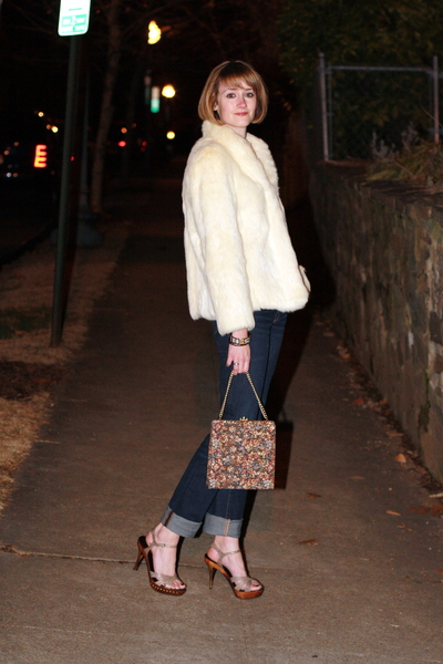 white fur vintage jacket - brown Report Signature shoes - blue J Brand jeans