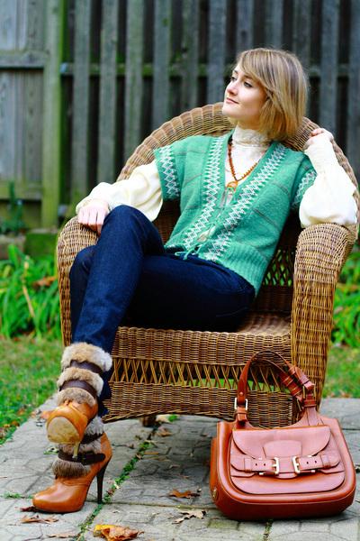chartreuse sweater vest vintage vest - tawny fur-trimmed Dolce Vita boots