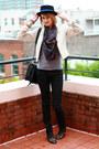 Black-snakeskin-h-m-jeans-black-fedora-vintage-hat-white-leather-gap-jacket-