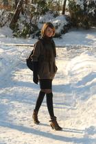 black over the knee HUE socks - brown United Bamboo coat
