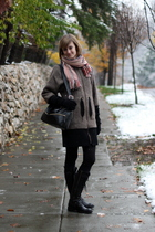 black H&M tights - brown United Bamboo coat - red gift scarf - black DKNY boots