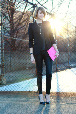 black tailored Zara blazer - hot pink asos bag - black faux leather Zara pants