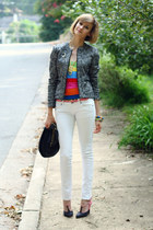 white skinny jeans Mango jeans - black studded bag KMRii bag