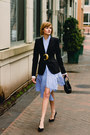 Sky-blue-striped-genuine-people-dress-black-tailored-zara-blazer