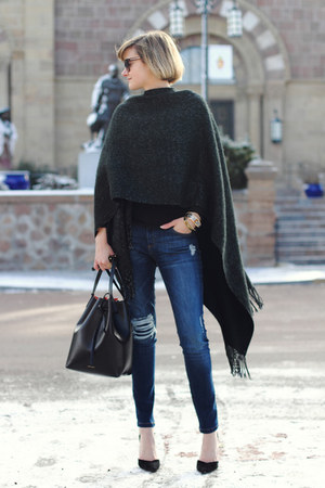 black fringe accessory street cape - black heels Zara shoes