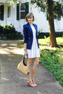 White-netted-bcbg-dress-navy-fitted-zara-blazer