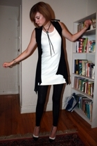 vintage necklace - forever 21 vest - Petit Bateau dress - Costume Department leg