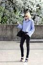 Black-skinny-jeans-dl1961-jeans-sky-blue-pixie-market-shirt
