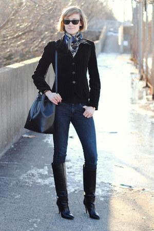 black knee-high boots karen millen boots - navy skinny H&M jeans