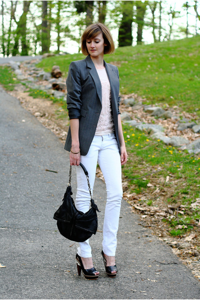beige Topshop top - white Mango jeans - silver Express blazer - black KMRii purs