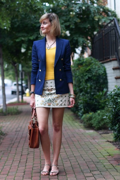 navy double-breasted Zara blazer - brown saddlebag Bally bag