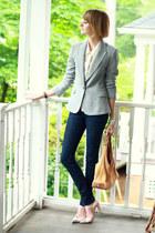 silver sparkly Zara blazer - navy skinny jeans H&M jeans