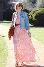 Peach-floral-maxi-bb-dakota-dress-sky-blue-denim-jacket-levis-jacket