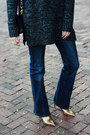 Gold-ankle-boots-zara-boots-navy-flared-mango-jeans
